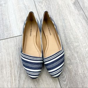 Lucky Brand Striped Pointed Toe Ballet Flats